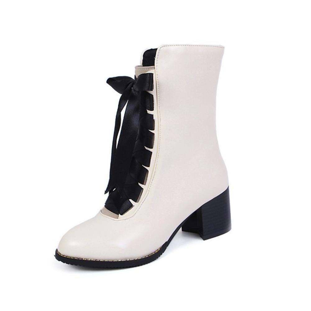 NVXIE Mujeres Tobillo Botas Martín Zapatos Otoño Invierno Negro Cuero Rough Heel Cabeza Redonda Tamaño, EUR 36/UK 3.5-4 WHITE-EUR36UK354