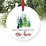 New Home Ornament 2017, 1st Christmas In Our New House, First Home Ornament Housewarming Gifts Xmas Present Idea Ceramic Keepsake 3' Flat Circle Porcelain with Red Ribbon & Free Box