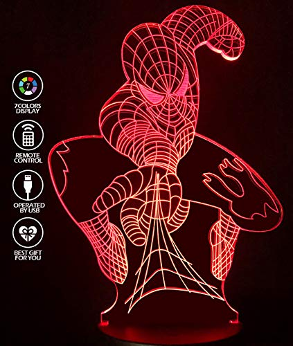 (LJOYKID Spiderman 3D Night Light for Girls- Led 3D Illusion Lamp 7 Kind of Changing Color Kids Room Decor Lighting As Birthday Gift for Girls Boy Kids -with Remote Control and USB Cable)