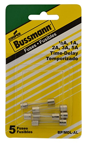 Bussmann BP/MDL-AL Low Amp MDL Electronic Glass Tube Fuse Assortment, Contains 1 Each MDL-1/2, 1, 3, 5 - Amp One Time Fuse