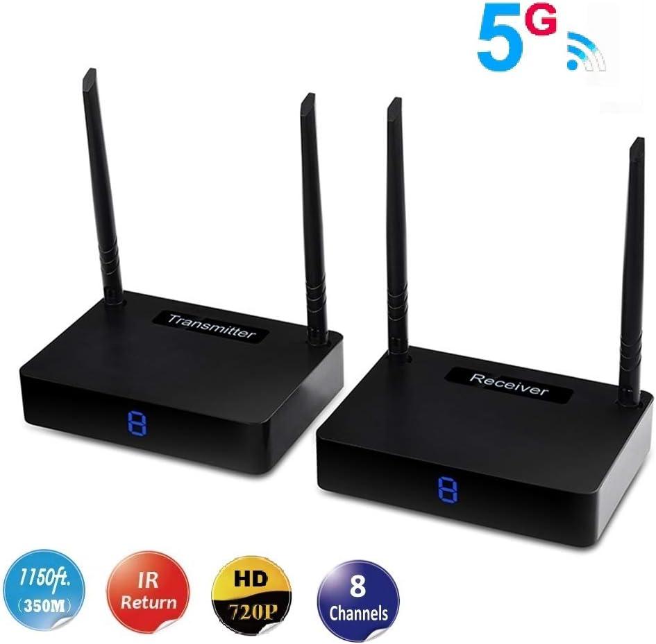 MEASY HD585 transmisor y Receptor inalámbricos inalámbricos de HDMI 5.8GH WiFi hasta 350 m / 1150 pies con función de Control de Retorno de señal IR, Color Negro