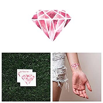 0e354df99 Amazon.com : Tattify Pink Diamond Temporary Tattoo - Crystal Clear (Set of  2) - Other Styles Available - Fashionable Temporary Tattoos : Beauty