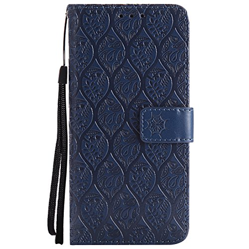 Galaxy S8 Plus Hülle,Galaxy S8 Plus Schutzhülle PU Leder,Galaxy S8 Plus Wallet Tasche Brieftasche Schutzhülle,Hpory Elegante Vintage Schmetterling Muster PU Leder Wallet Tasche Flip Cover Ledertasche  Rattan Blumen,dunkelblau