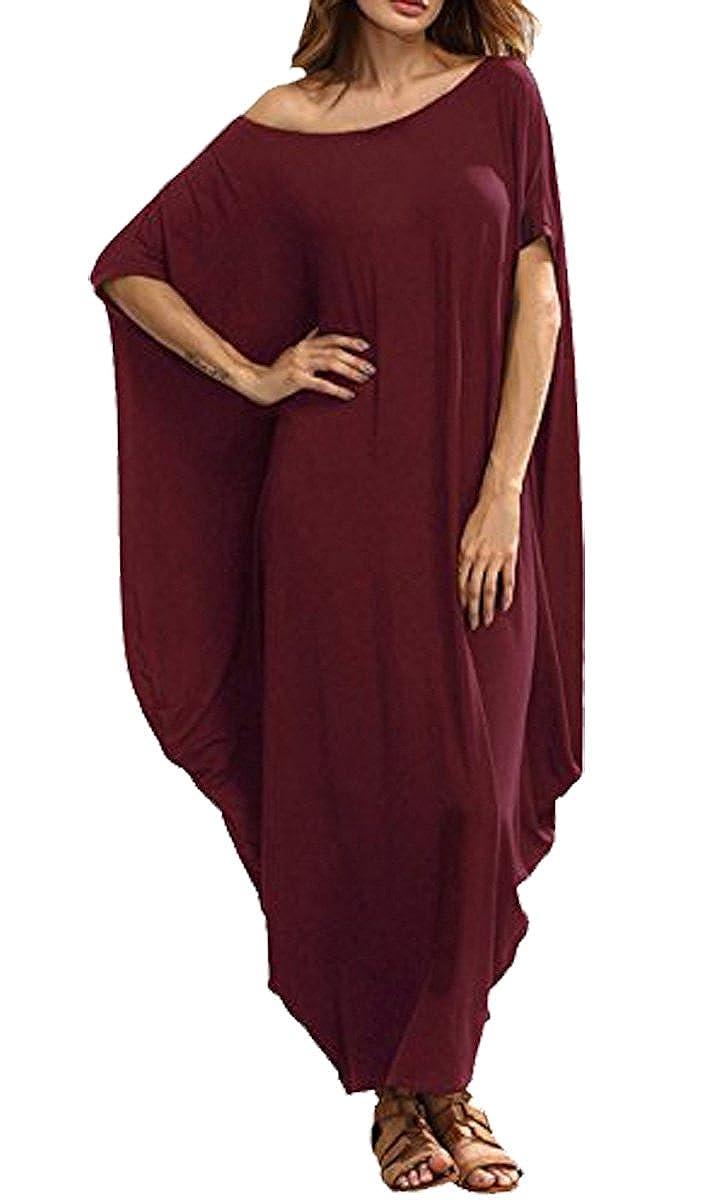 BLACKMYTH Women Casual Loose One Off Shoulder Caftan Sleeve Harem Vintage Maxi Dress
