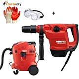 Toucan City Safety Goggles with Nitrile Dip Gloves (5-Pack) and Hilti TE 50 AVR SDS Max Hammer Drill/Chipping Hammer with Dust Removal System 3561759