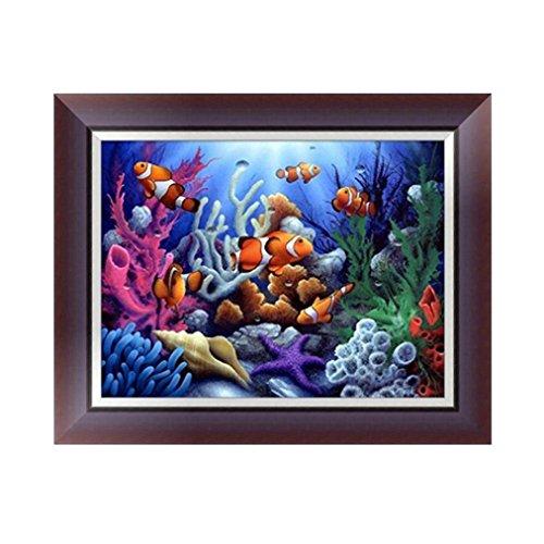 Botrong 5D Fish DIY Diamond Painting Embroidery Cross Craft Stitch Home Decor Art (12X16inch / 30X40CM)