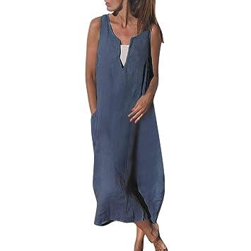 Amazon.com: Vestido de lino de algodón para mujer, sexy ...