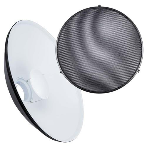 Interfit MBD22K Studio Essentials Small - 22'' Beauty Dish with Bowens S-Type Mount Kit/Honeycomb Grid, White