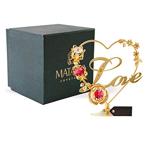 Matashi 24K Gold Plated Crystal Studded Double Heart with Banner Ornament, Best Gifts for Valentines Day, Mothers Day, Anniversary, Christmas, Birthday (Red Crystal - Love)