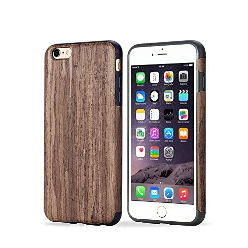 iPhone 6 Case Phone 6s Case TabPow Wooden Design Shockproof Drop Protection Heavy Duty Dual Layer Slim Hybrid Wood Case Cover For iPhone 6  iPhone 6S Dark Rosewood  (Wooden Case)