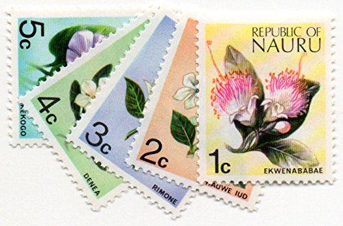 Nauru Postage Stamp Set 1973 Flowers Issue 5 Stamps Scott #91-95