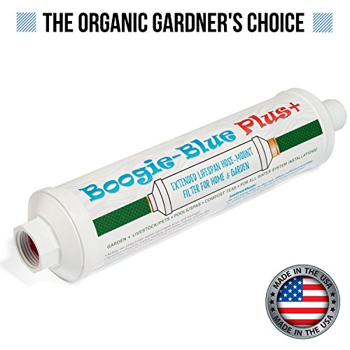 New 2018 Design - Boogie Blue PLUS High Capacity Water Filter for garden, RV and outdoor use - Removes Chlorine, Chloramines, VOCs, Pesticides/Herbicides - Garden Compost