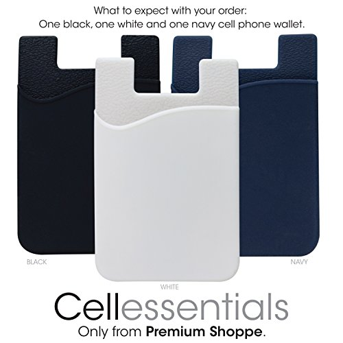 Cellessentials Card Holder for Back of Phone - Silicone Stick on Cell Phone Wallet with Pocket for Credit Card, ID, Business Card - iPhone, Android and Most Smartphones - 3 Pack(Black,White,Navy)