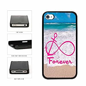 Pink Forever Anchor and Beautiful Beach TPU RUBBER SILICONE Phone Case Back Cover iPhone 5 5s includes diy case Cloth and Warranty Label