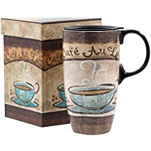 A Ting Tall Ceramic Travel Mug 17 oz. Sealed Lid With Gift Box (cafe)