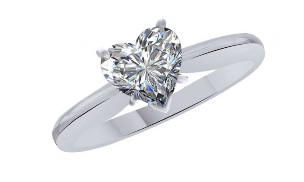 Jewel Zone US Heart Cut White Cubic Zirconia Anniversary Solitaire Ring in 14k White Gold Over Sterling Silver (0.75 Carat)