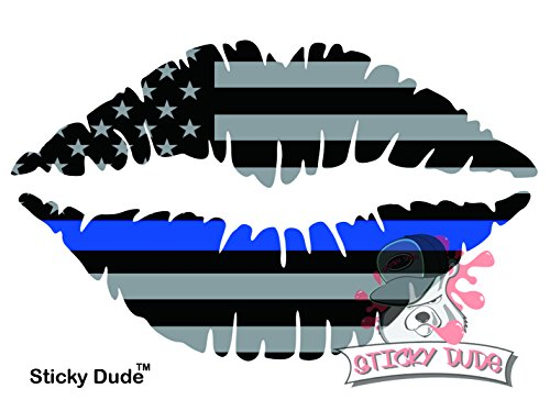 "Two (2) pcs - Reflective 3M Kiss Mark Lips 5"" Blue Line USA Flag STICKER / DECAL cute and funny wallpapers DIY nice for car, laptop, ipad, mac, truck, iphone and personal stuffs"