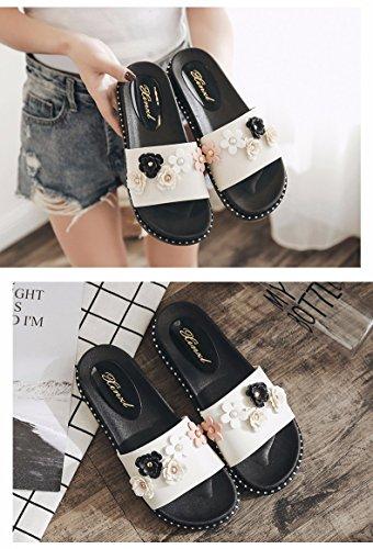 UK moda XZZ de zapatillas de son verano LiUXINDA 3 5 nuevas rosa mujer Las para Corbata blanco ZqzdFdxf
