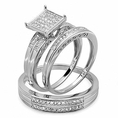 0.25 Carat (ctw) Sterling Silver Round White Diamond Men & Women's Engagement Ring Trio Set 1/4 (0.25 Ct Diamond Trio)
