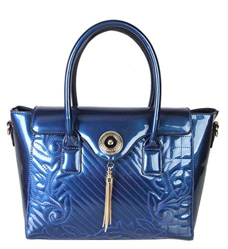 rimen-co-shiny-patent-pu-leather-floral-print-tote-womens-purse-handbag-lp-2528-blue