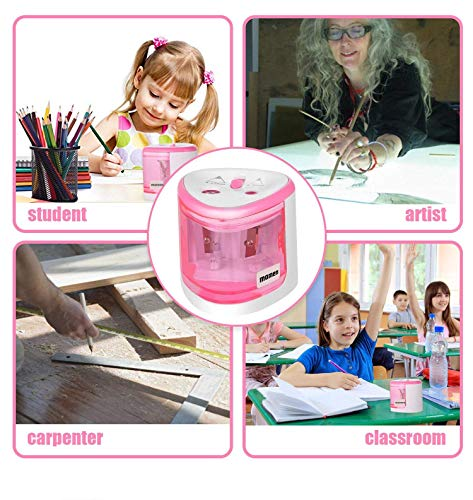 Electric Pencil Sharpener,Heavy Duty Battery Operated Automatic Pencil Sharpener manual for Office School Classroom Kids Artists,Cute Best Handheld Portable Cordless for No.2 and Colored Pencils(Pink) Photo #6