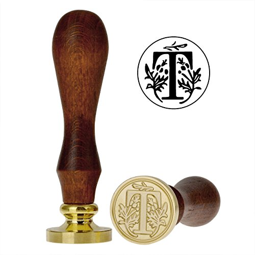 Yoption Classic Letter T Vintage Retro Brass Head Wooden Handle Initial Sealing Wax Seal Stamp (T)