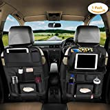 Eocean Car Backseat Protector, Car Backseat Organizer, Car Backseat Cover with Leather Foldable Dining Table Tray for Baby and 10 Storage Organizers with Tablet Holder for iPad, Organize All Kids Travel Accessories (1 Pack)