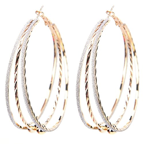 JUNKE Vogue Large Round Crystal Earring Hoop Big Circle Earrings Eardrop for Women Girls, Gold-tone, 2.16