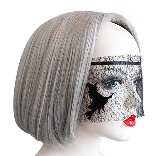 Bingirl For Halloween Party Women Black Elegant Mesh Veil Delicate Witch Mask ()
