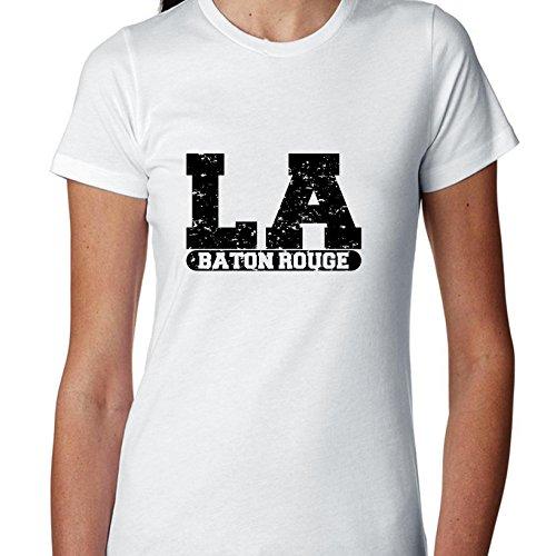 Hollywood Thread Baton Rouge, Louisiana LA Classic City State Sign Women's Cotton T-Shirt -