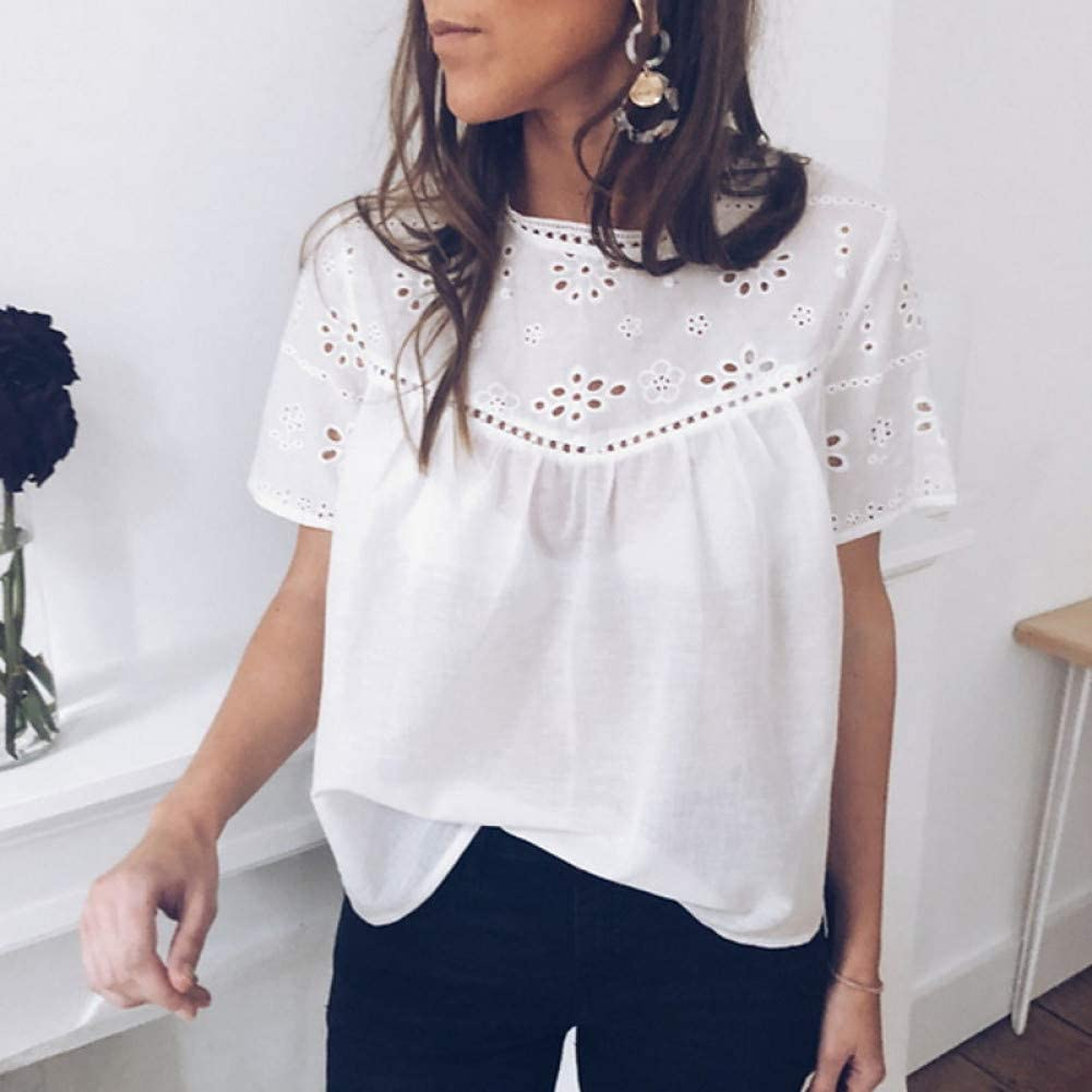 BGBG Women's T-shirt Women'S Daily Vacation T-Shirt - Solid Colored Lace/Embroidery/Hollow White/Spring/Summer White