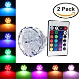 Set of 2 Waterproof Submersible Underwater Colour Changing LED Lights Battery Powered 10 LED with Remote Control for Wedding, Party, Vase, Fish Tank, Christmas Decoration Lighting
