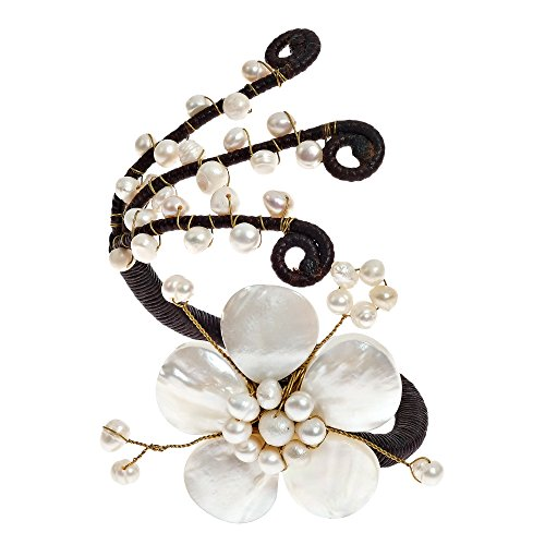 AeraVida Blooming White Flower and Cultured Freshwater Pearl Embellishment Chic Cuff Bracelet