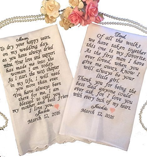 Mother of the Bride- Father of the Bride Wedding Handkerchief Gift Set Embroidered by Wedding Tokens Perfect Gift For The Mother and Father of the Bride- Personalized With Your Choice of Words ()