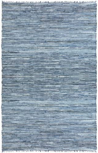 Matador Leather and Denim Dhurry Rug, 10 by 14-Feet, Blue