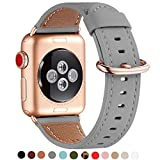 WFEAGL Compatible iWatch Band 40mm 38mm, Top Grain Leather Band with Gold Adapter (The Same as Series 4/3 with Gold Aluminum Case in Color) for iWatch Series 4/3/2/1 (Gray Band+Rosegold Adapter)