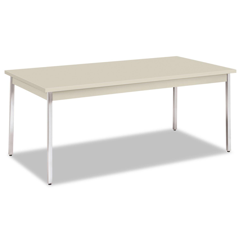 HON Utility Table with Chrome Leg Finish, 72'' x 36'', Light Gray