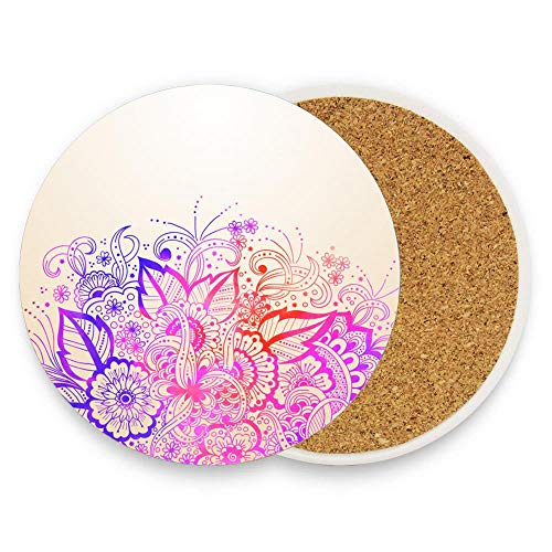 Coasters for Drinks Absorbent Pack of 1, Wedding Invitation Announcement With Ornament Arabian Style Arabesque Ceramic Stone Coaster with Absorb Cork Non-slip Back