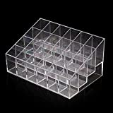 GBSTORE 4 Tier 24 Spaces Clear Transparant Lipstick Organizer Nail Polish Makeup Case Display Rack Holder