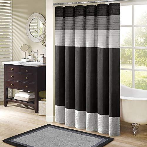 Madison Park Amherst Bathroom Shower Curtain Faux Silk Pieced Striped Modern Microfiber Bath Décor, 72x72 Inches, Black