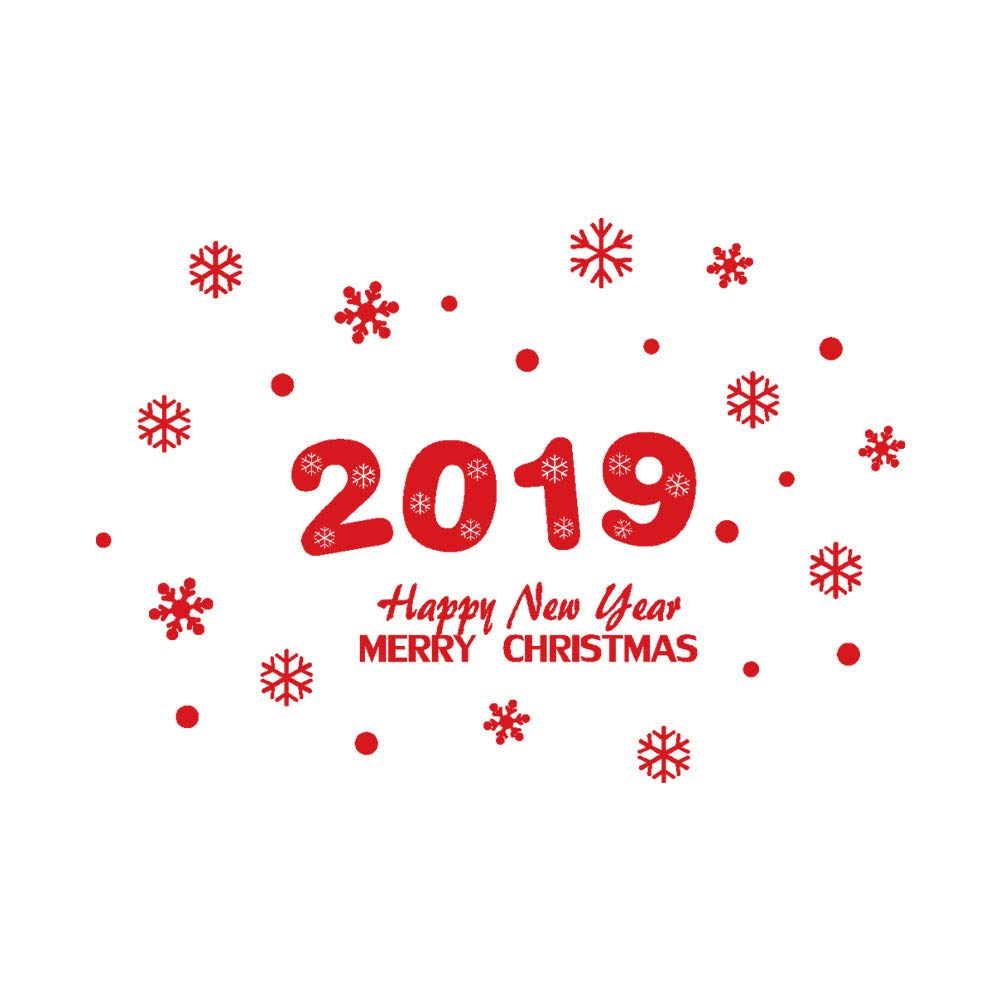 2019 New Year Merry Christmas Decor Snowflake Wall Sticker Home Shop Windows Decals Wall Decor Removable (Red)