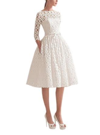 fcb99f107e3 Datangep Women s Bateau 3 4 Sleeve Lace A-line Knee Length Short Wedding  Dress at Amazon Women s Clothing store