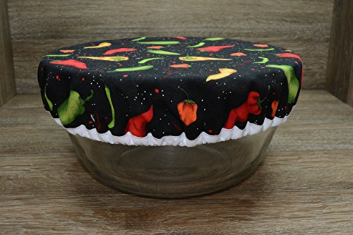 Cover Chili Peppers - Eco-Friendly//Reusable//Bowl Cover//1 Large//Chili Peppers