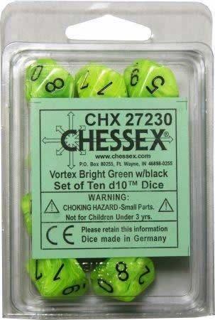 Ten Sided Die d10 Set Chessex Dice Sets: Vortex Bright Green with Black 10 SG/_B0098HYEAS/_US