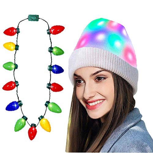 SLONLI Light up Christmas Beanie Hats with LED Christmas Necklace, Ugly Christmas Hats for Adults Women Men Kids Girls Boys Novelty Funny Hat Gifts