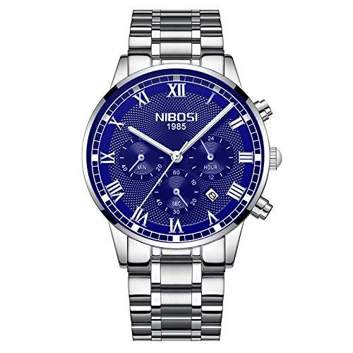 Men's Quartz Analog Watches Fashion Stainless Steel Watch Waterproof Chronograph Business Wristwatch (Silver Blue)