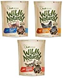 Fruitables Wildly Natural Cats Treat Variety Pack 3 (1 Bag of Each: Chicken, Tuna and Salmon)