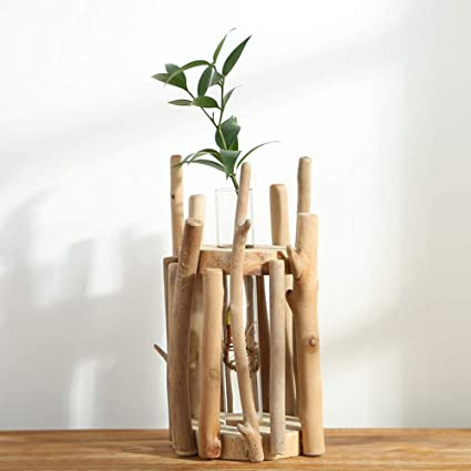Water Planting Glass Vase,Test Tube Planter Modern Flower with Retro Solid Wooden Stand Tabletop Glass Terrarium for Hydroponics Plants Home Garden