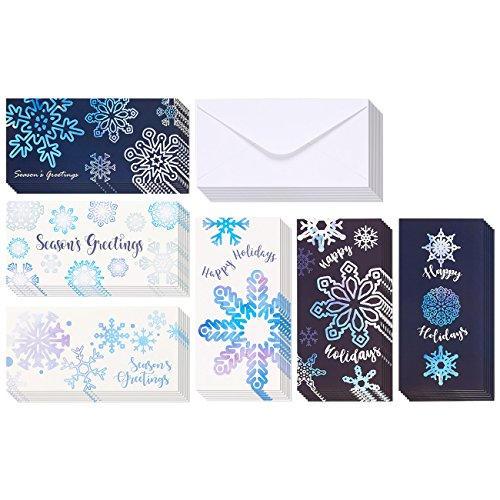 36-Pack Merry Christmas Greeting Cards - Xmas Money and Gift Card Holder Cards in 6 Cute Snowflake Designs, Bulk Assorted Winter Holiday Cards Box Set with Envelopes Included, 3.6 x 7.25 Inches
