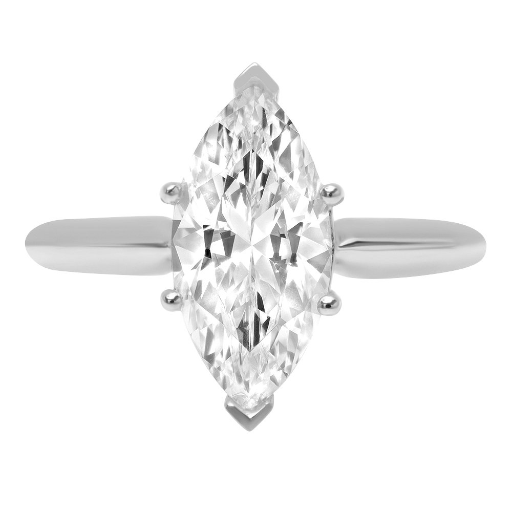 2.4ct Marquise Brilliant Cut Classic Solitaire Designer Wedding Bridal Statement Anniversary Engagement Promise Ring Solid 14k White Gold, 4.75
